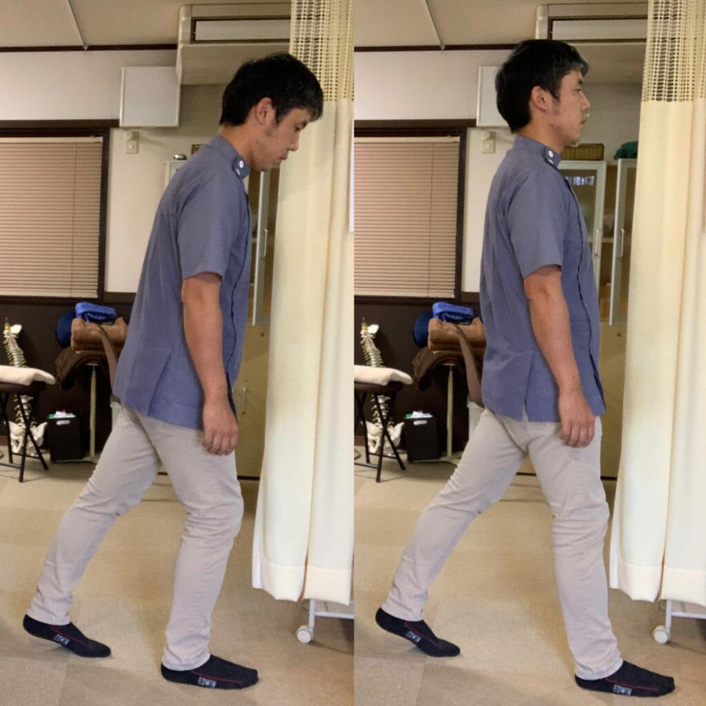 かかと寄り重心と前より重心の歩き方の比較