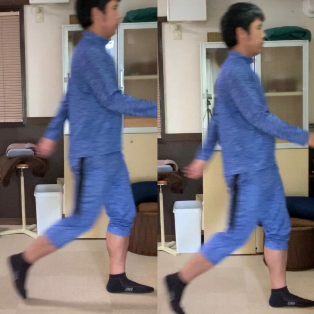 ウォーキング中の歩き方による、歩幅の比較