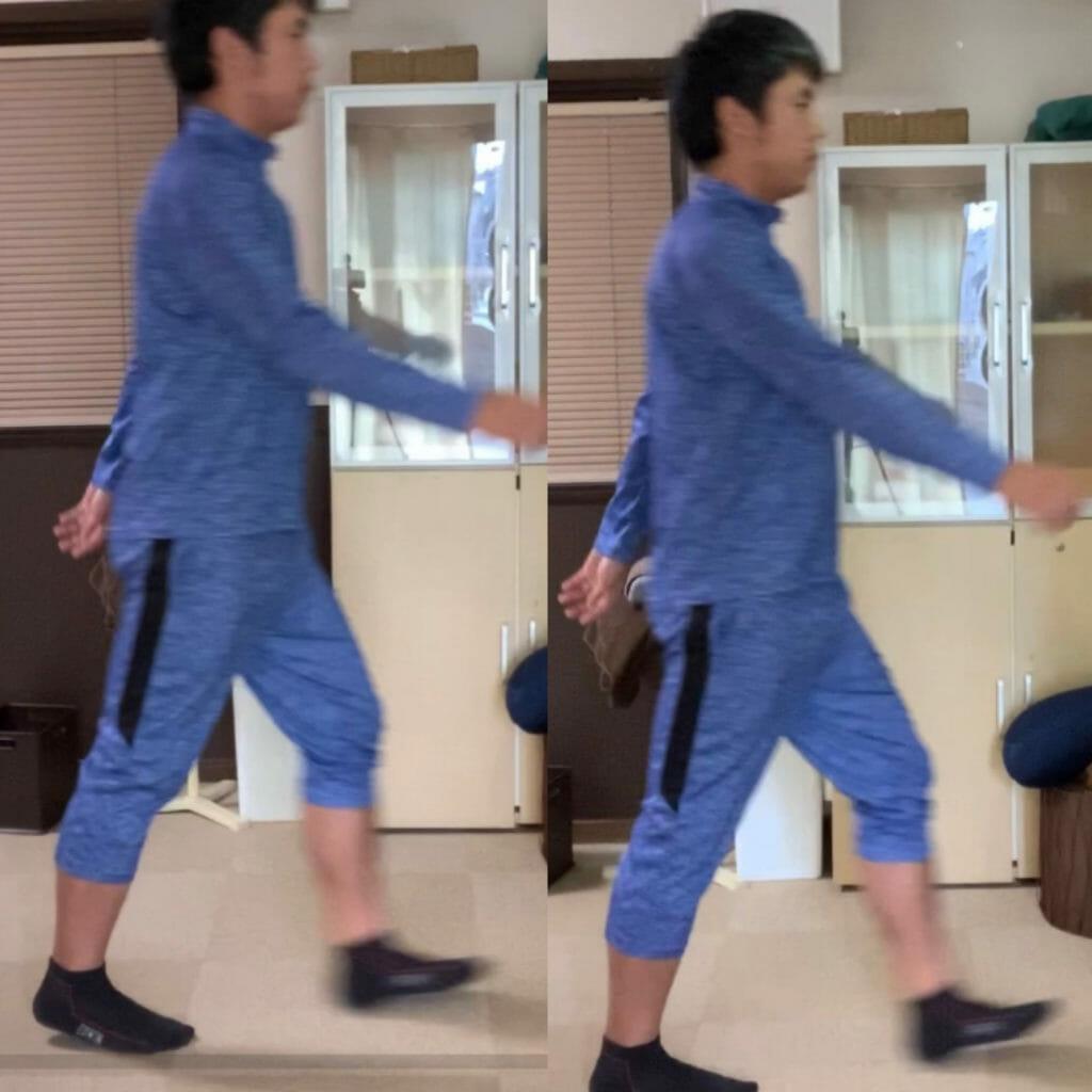足の上がり具合と、手の振れ幅の比較