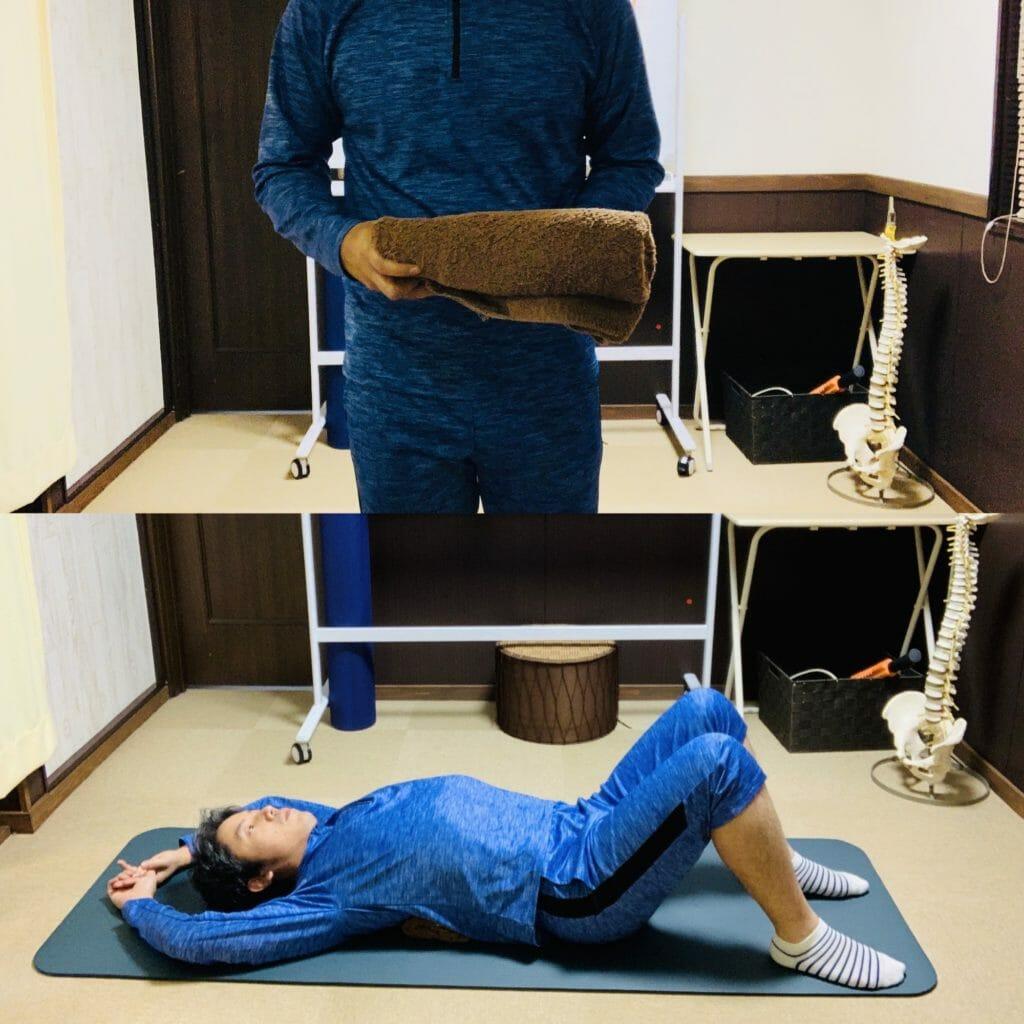 猫背を改善するために、背骨の周辺をストレッチする