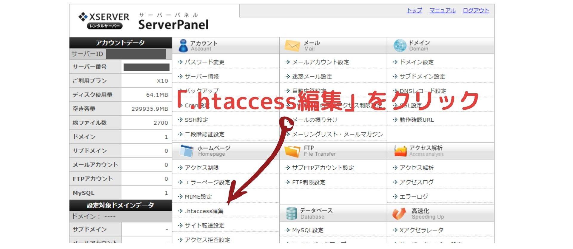 3.サーバーパネルから「.htaccess編集」をクリック